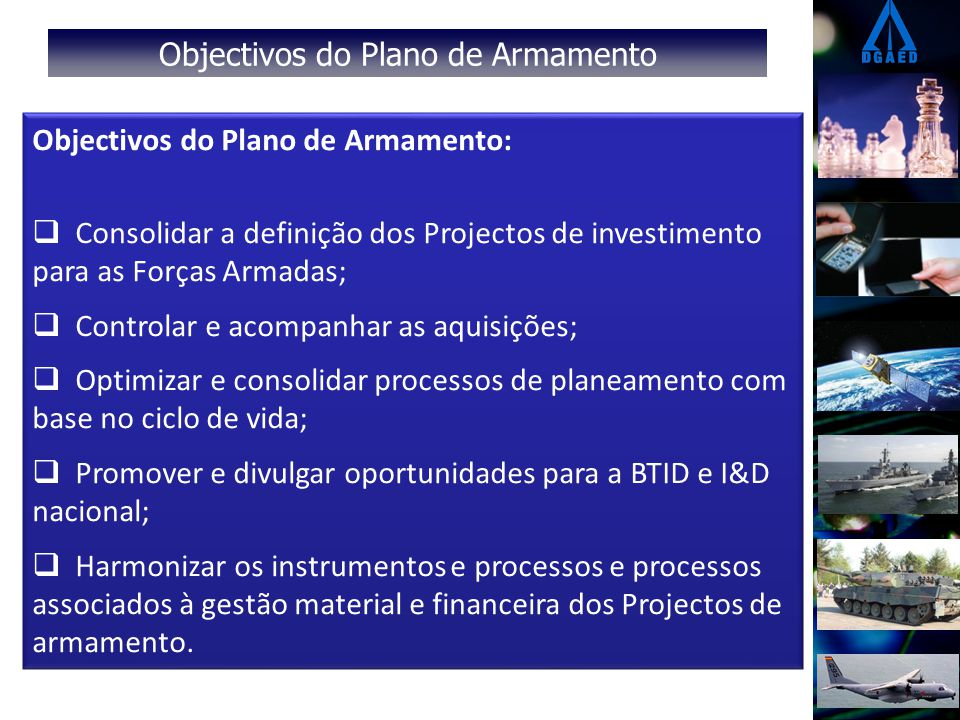 Objectivos do Plano de Armamento