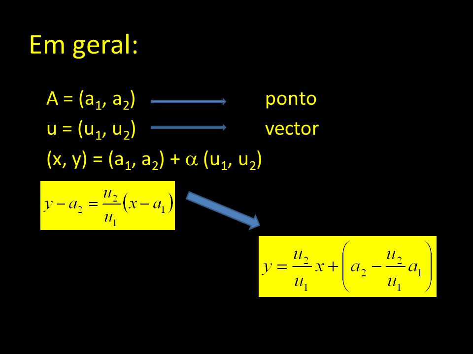 Em geral: A = (a1, a2) ponto u = (u1, u2) vector (x, y) = (a1, a2) +  (u1, u2)