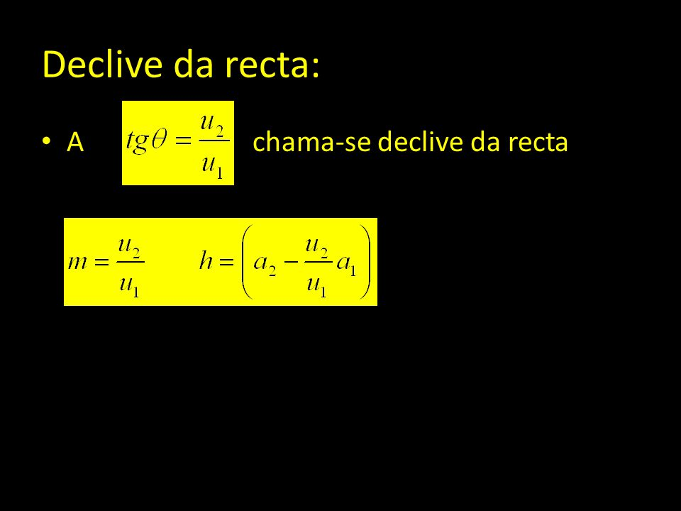 Declive da recta: A chama-se declive da recta