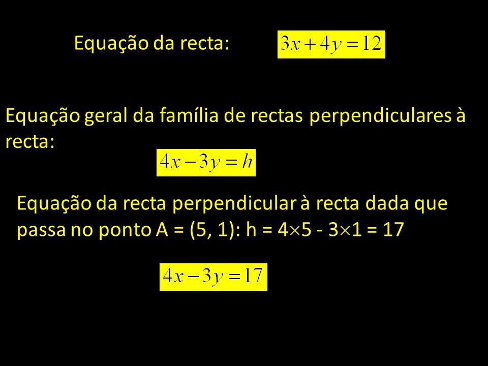 Equação da recta: Equação geral da família de rectas perpendiculares à recta: