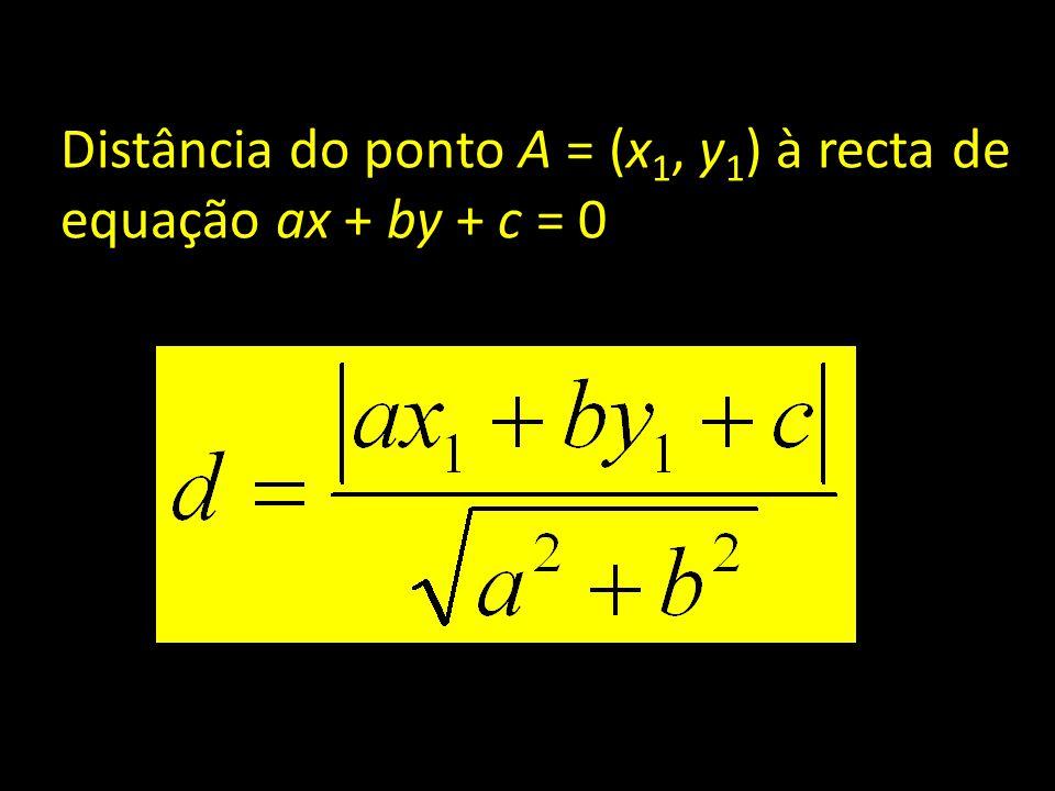 Distância do ponto A = (x1, y1) à recta de equação ax + by + c = 0