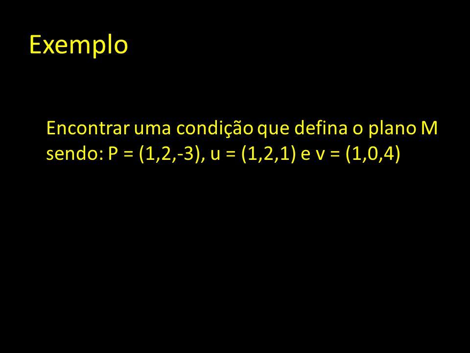 Exemplo Encontrar uma condição que defina o plano M sendo: P = (1,2,-3), u = (1,2,1) e v = (1,0,4)