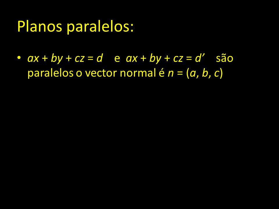 Planos paralelos: ax + by + cz = d e ax + by + cz = d' são paralelos o vector normal é n = (a, b, c)