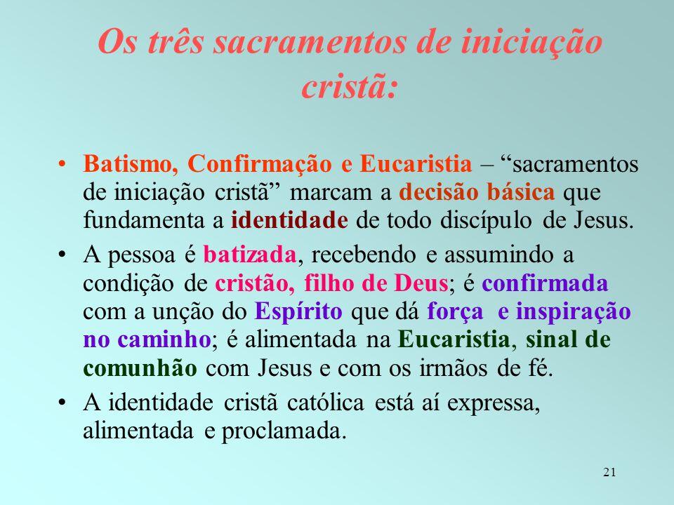 Os três sacramentos de iniciação cristã: