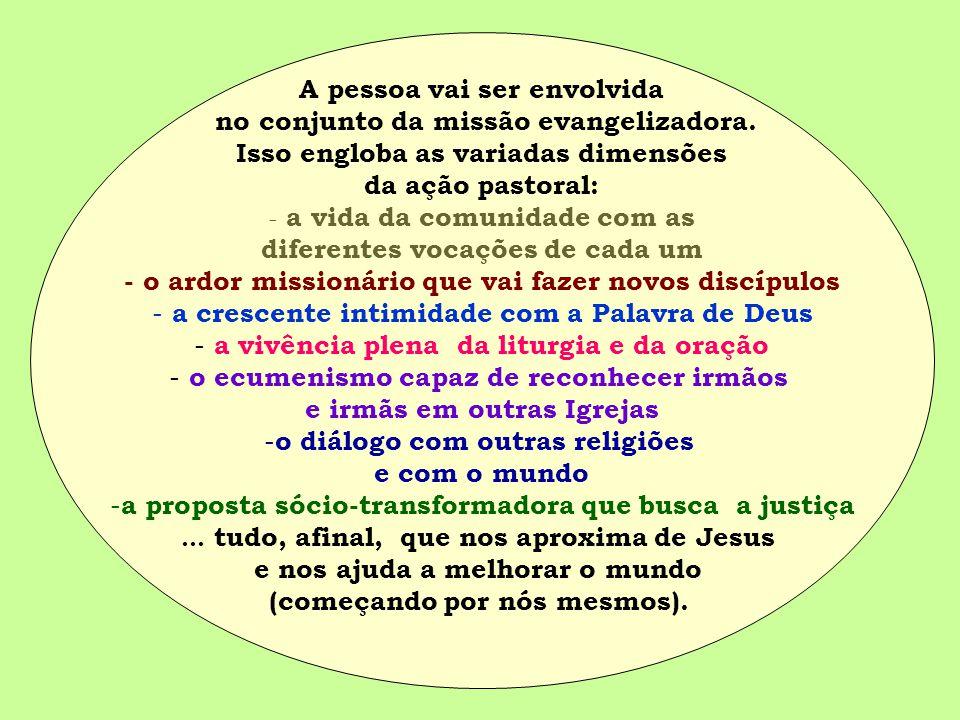 A pessoa vai ser envolvida no conjunto da missão evangelizadora.