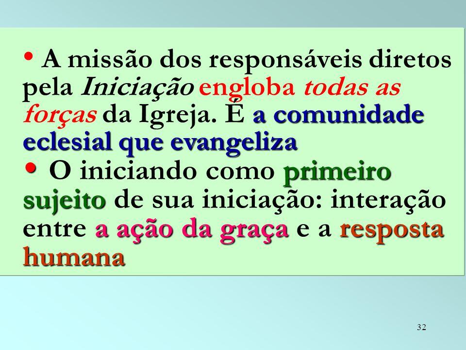 A missão dos responsáveis diretos pela Iniciação engloba todas as forças da Igreja. É a comunidade eclesial que evangeliza