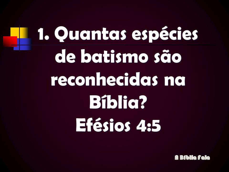 1. Quantas espécies de batismo são reconhecidas na Bíblia Efésios 4:5