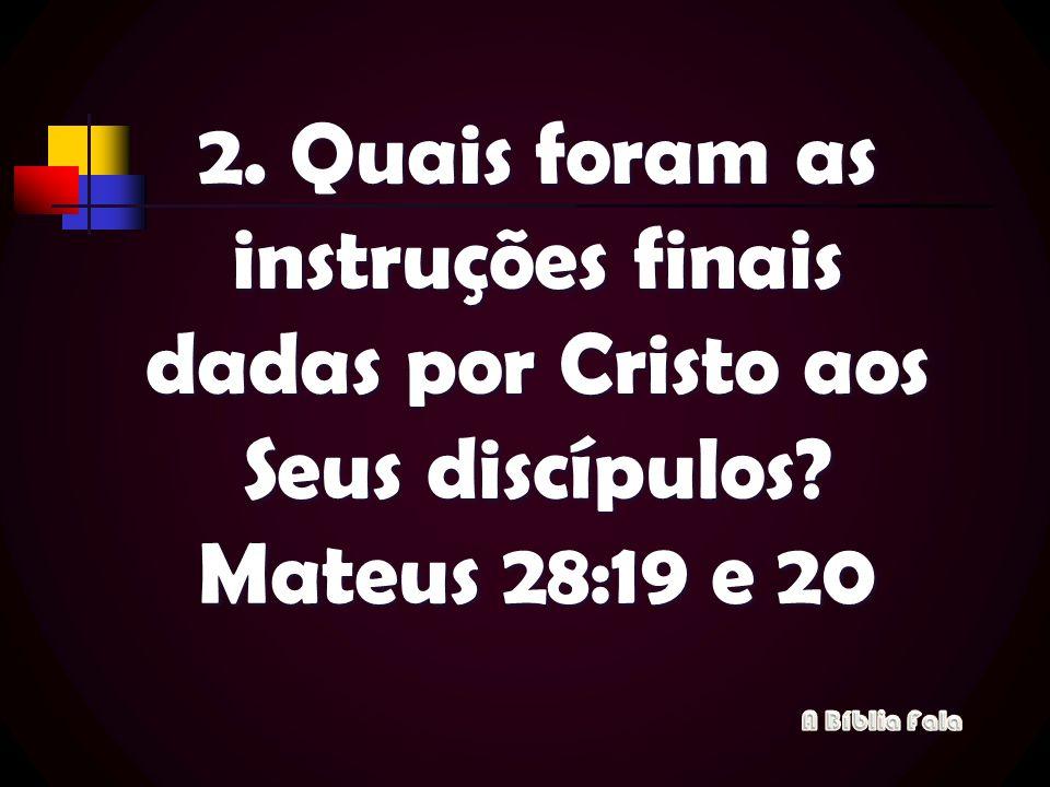 2. Quais foram as instruções finais dadas por Cristo aos Seus discípulos Mateus 28:19 e 20