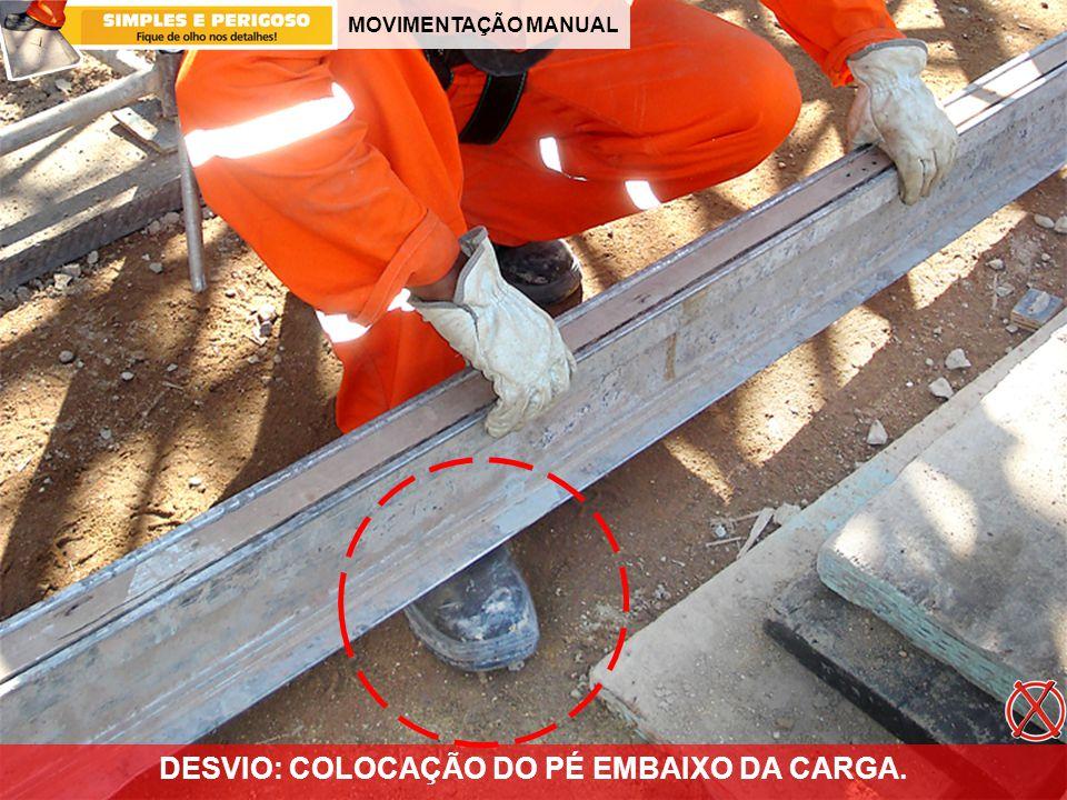 DESVIO: COLOCAÇÃO DO PÉ EMBAIXO DA CARGA.