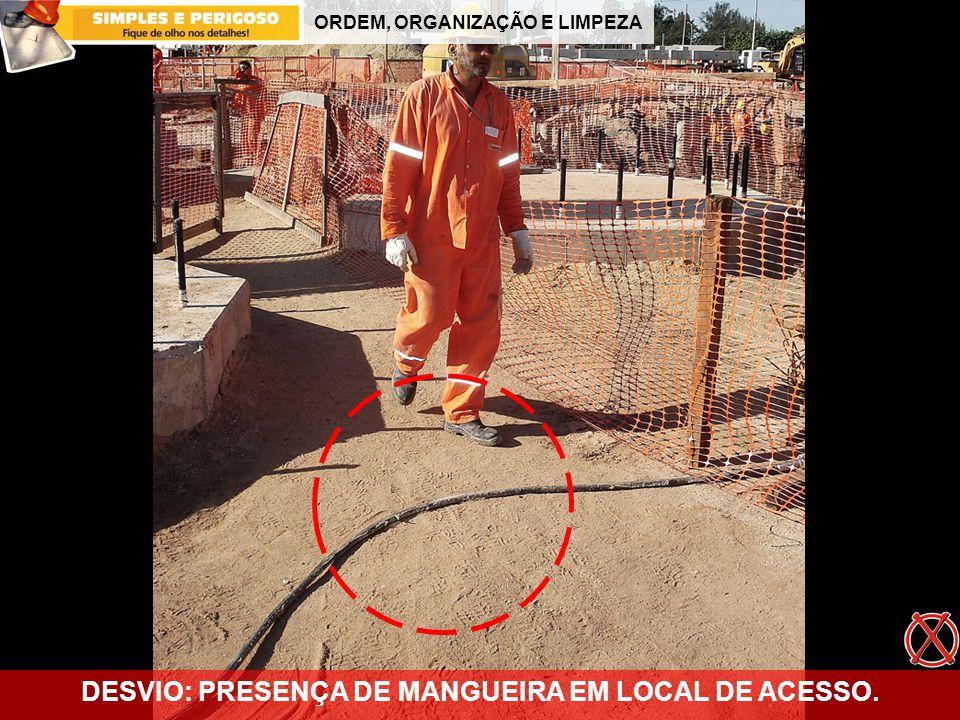 DESVIO: PRESENÇA DE MANGUEIRA EM LOCAL DE ACESSO.