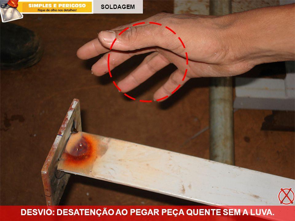 DESVIO: DESATENÇÃO AO PEGAR PEÇA QUENTE SEM A LUVA.