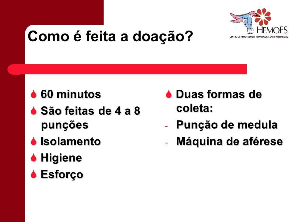 Como é feita a doação  60 minutos  São feitas de 4 a 8 punções
