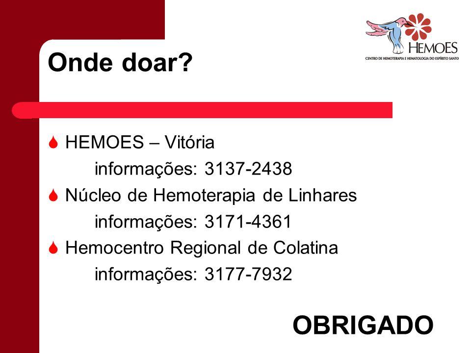 Onde doar OBRIGADO HEMOES – Vitória informações: 3137-2438