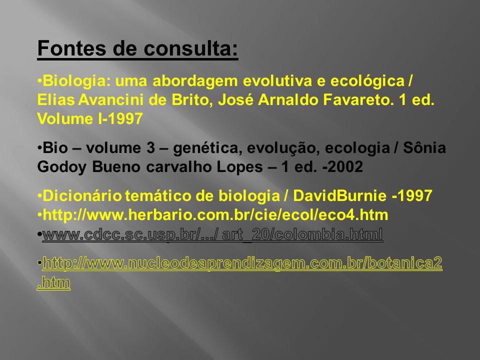 Fontes de consulta: Biologia: uma abordagem evolutiva e ecológica / Elias Avancini de Brito, José Arnaldo Favareto. 1 ed. Volume I-1997.