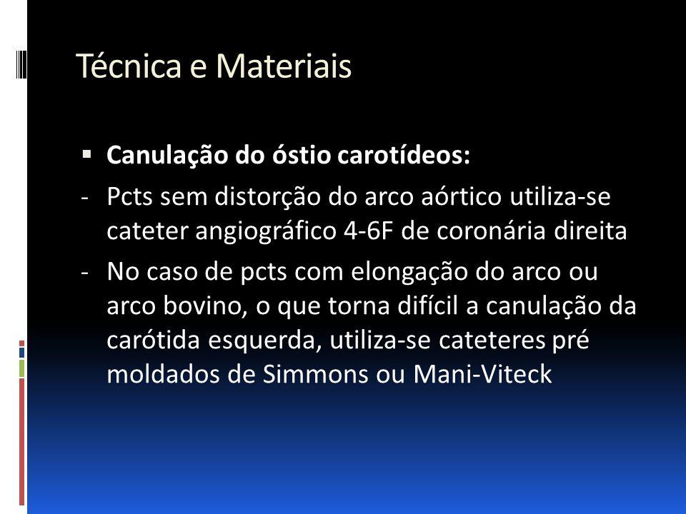 Técnica e Materiais Canulação do óstio carotídeos: