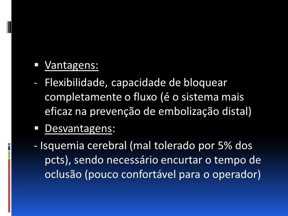 Vantagens: Flexibilidade, capacidade de bloquear completamente o fluxo (é o sistema mais eficaz na prevenção de embolização distal)