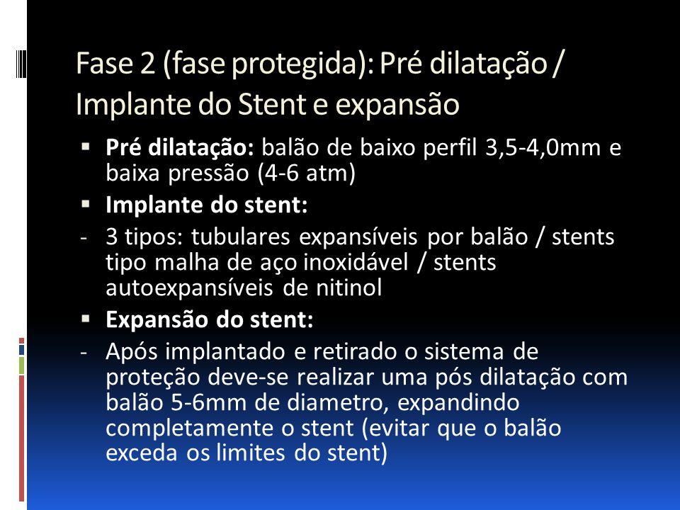 Fase 2 (fase protegida): Pré dilatação / Implante do Stent e expansão