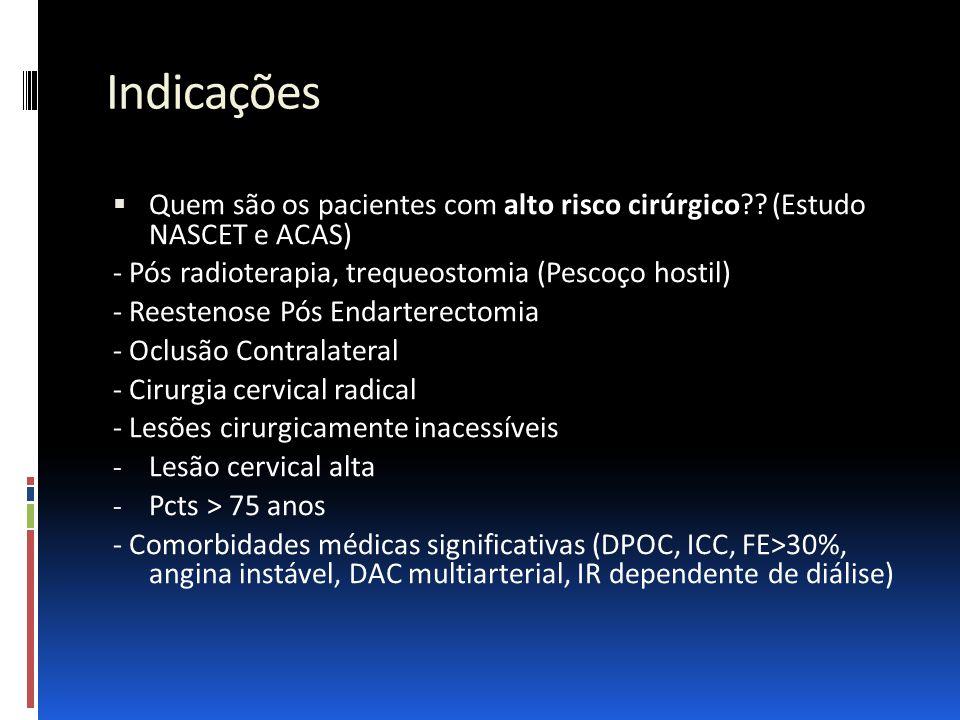 Indicações Quem são os pacientes com alto risco cirúrgico (Estudo NASCET e ACAS) - Pós radioterapia, trequeostomia (Pescoço hostil)