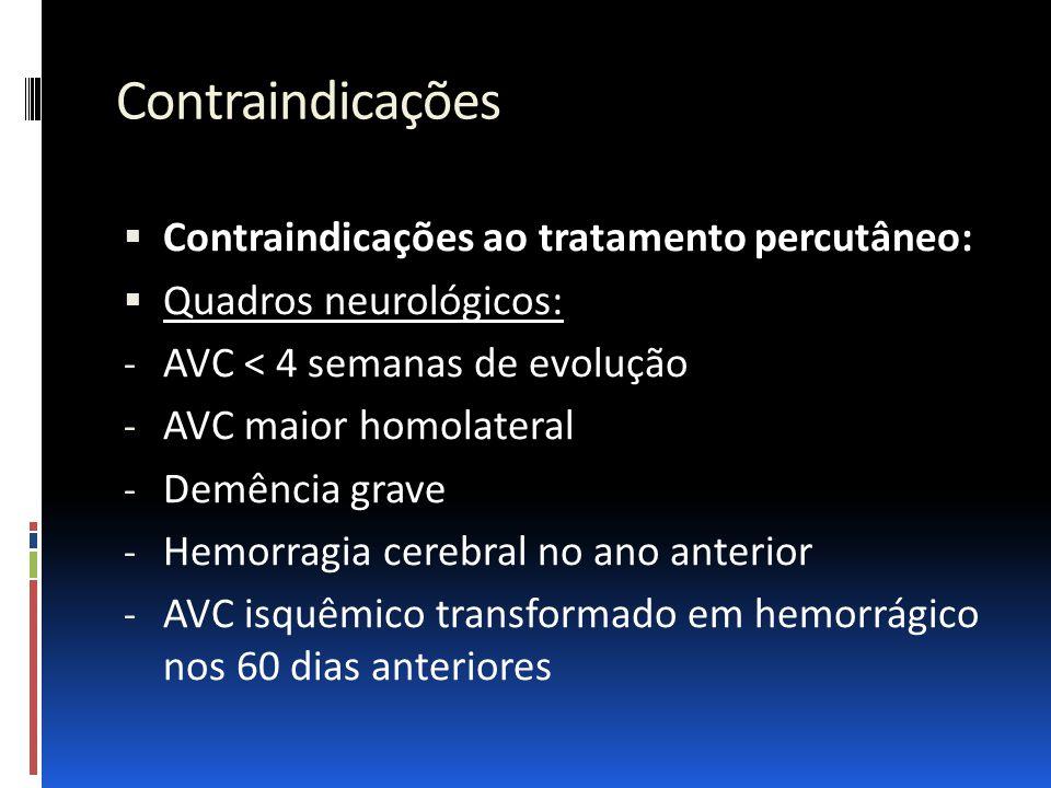 Contraindicações Contraindicações ao tratamento percutâneo: