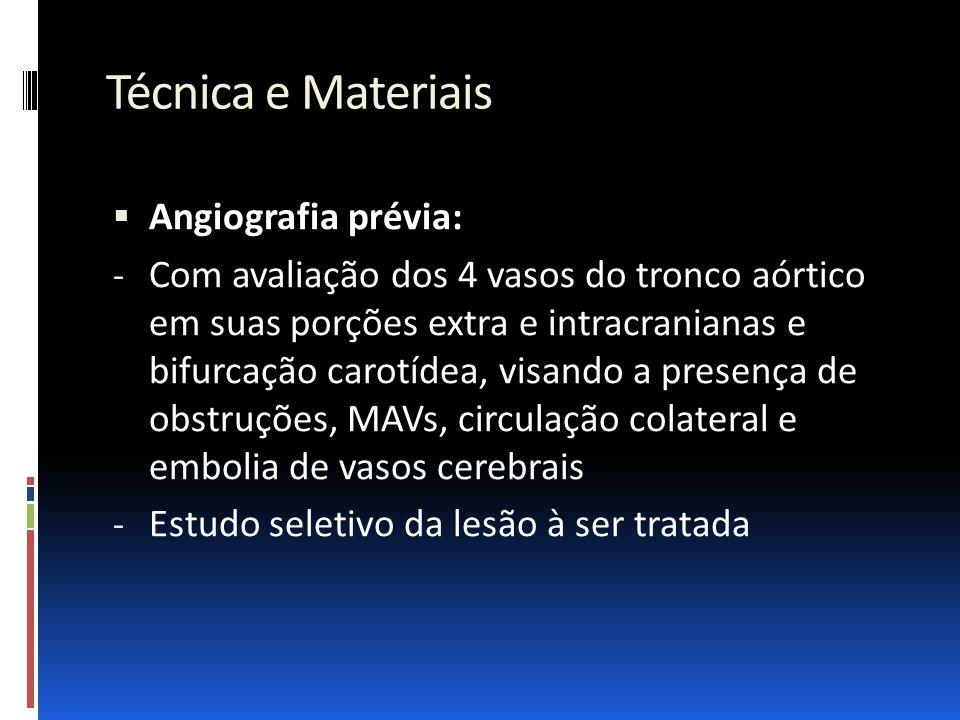 Técnica e Materiais Angiografia prévia: