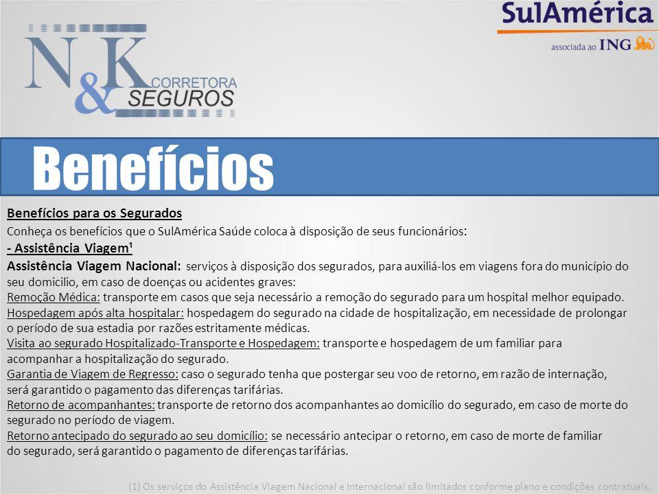Benefícios Benefícios para os Segurados Conheça os benefícios que o SulAmérica Saúde coloca à disposição de seus funcionários: