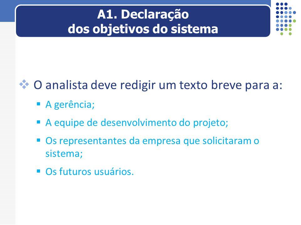 A1. Declaração dos objetivos do sistema