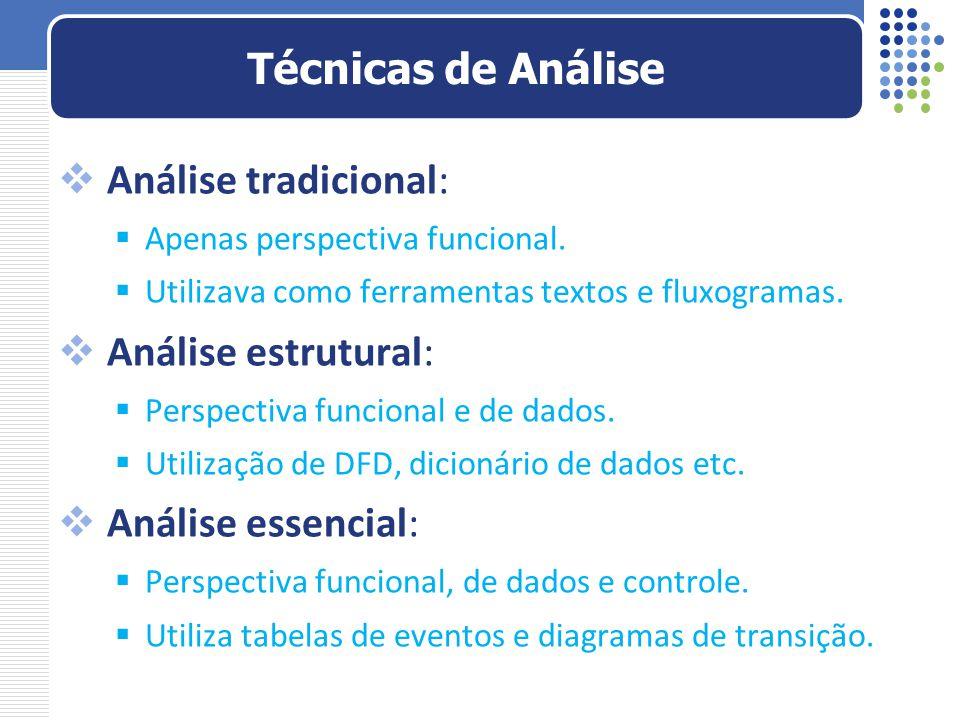 Técnicas de Análise Análise tradicional: Análise estrutural: