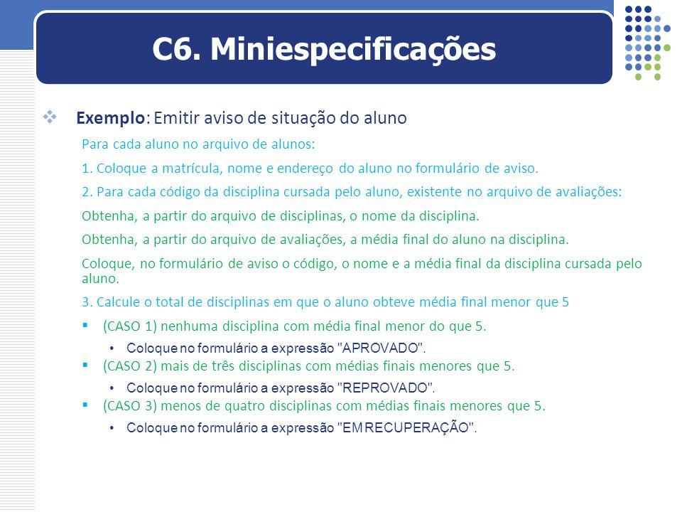 C6. Miniespecificações Exemplo: Emitir aviso de situação do aluno