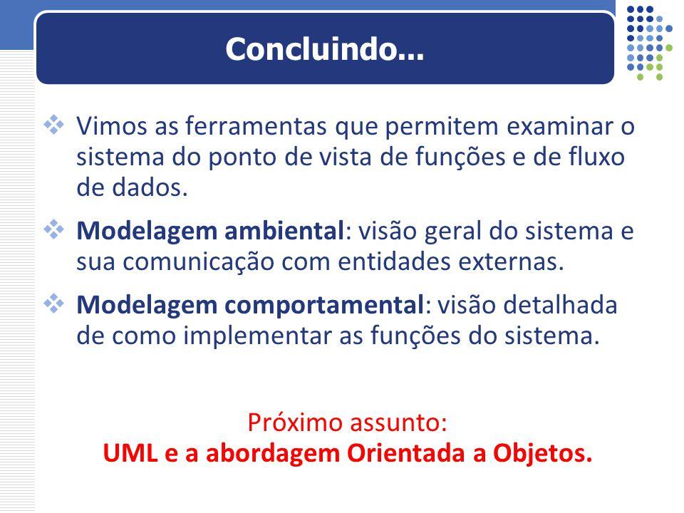 Próximo assunto: UML e a abordagem Orientada a Objetos.