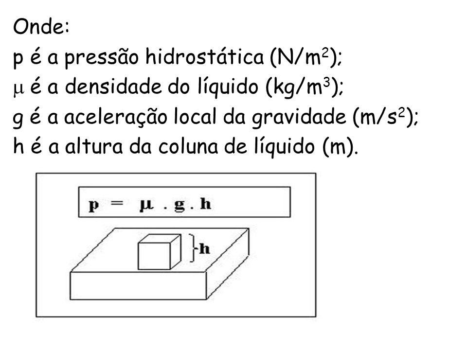 Onde: p é a pressão hidrostática (N/m2); é a densidade do líquido (kg/m3); g é a aceleração local da gravidade (m/s2);
