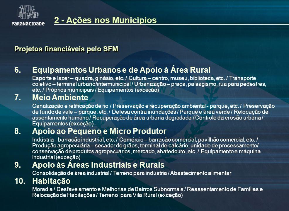 2 - Ações nos Municípios Projetos financiáveis pelo SFM. 6. Equipamentos Urbanos e de Apoio à Área Rural.