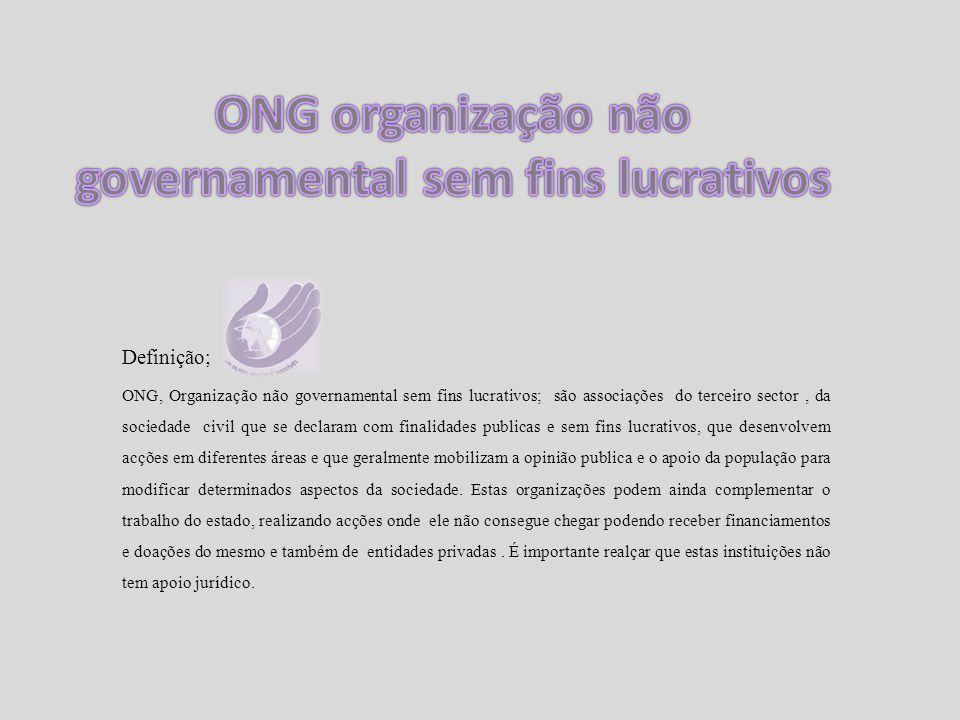 ONG organização não governamental sem fins lucrativos