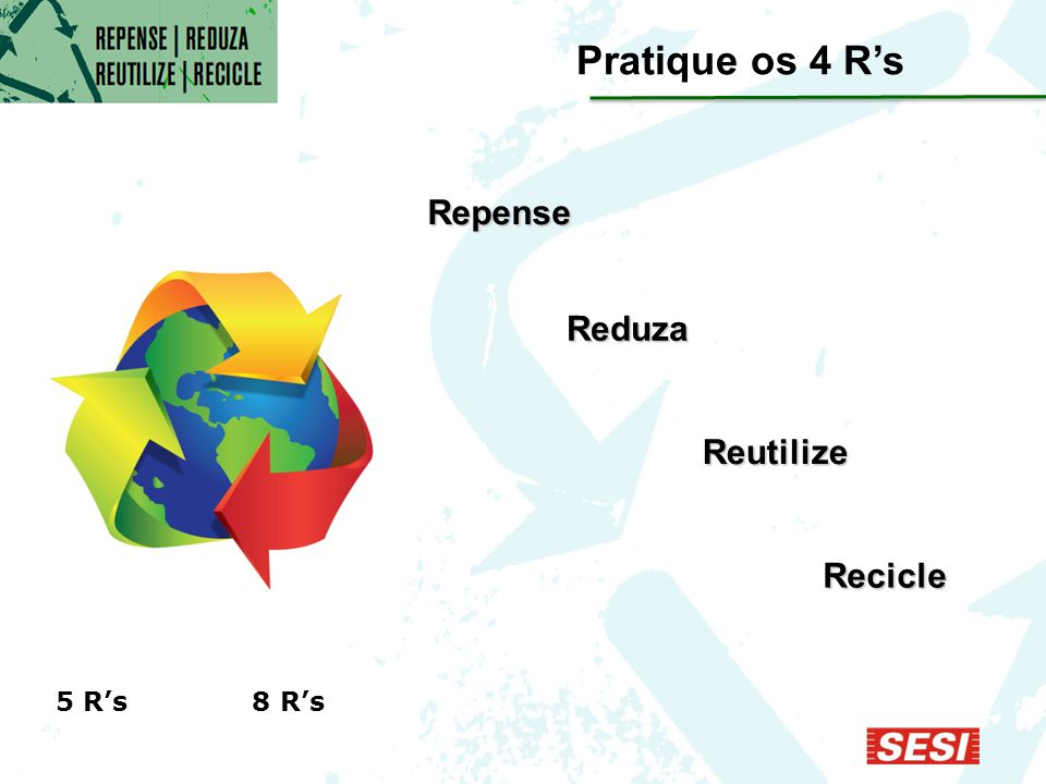 Pratique os 4 R's Repense Reduza Reutilize Recicle 5 R's 8 R's