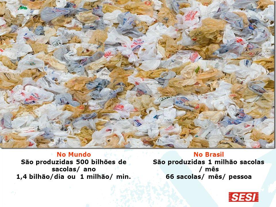 São produzidas 500 bilhões de sacolas/ ano