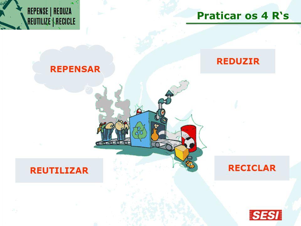 Praticar os 4 R's REPENSAR REDUZIR RECICLAR REUTILIZAR