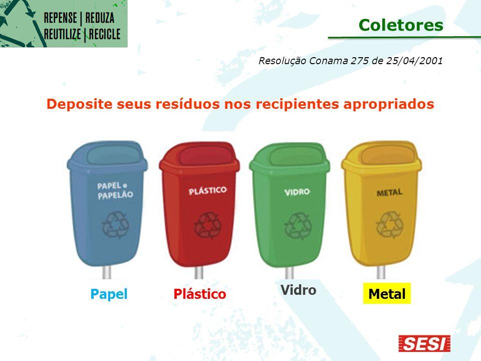 Deposite seus resíduos nos recipientes apropriados