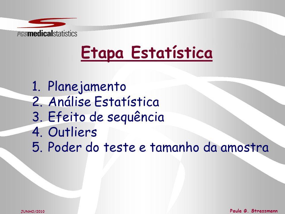 Etapa Estatística Planejamento Análise Estatística Efeito de sequência