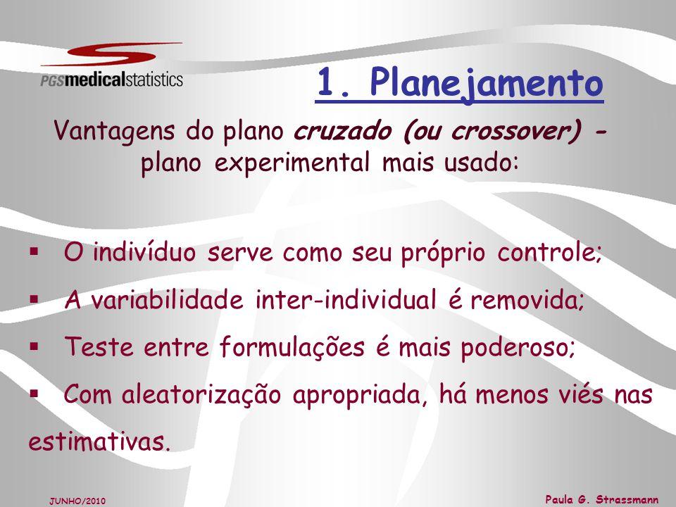 1. Planejamento Vantagens do plano cruzado (ou crossover) - plano experimental mais usado: O indivíduo serve como seu próprio controle;