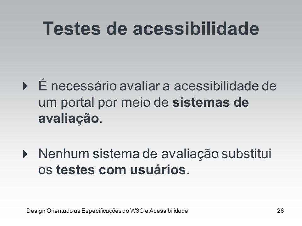 Testes de acessibilidade