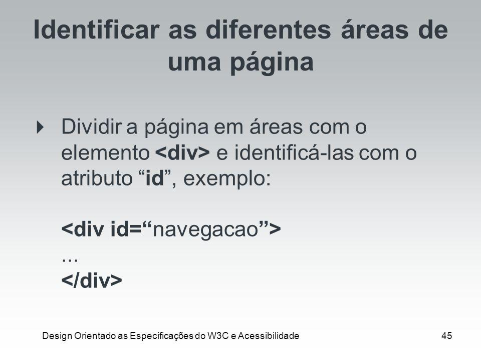 Identificar as diferentes áreas de uma página