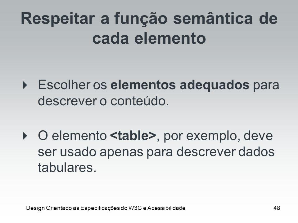 Respeitar a função semântica de cada elemento