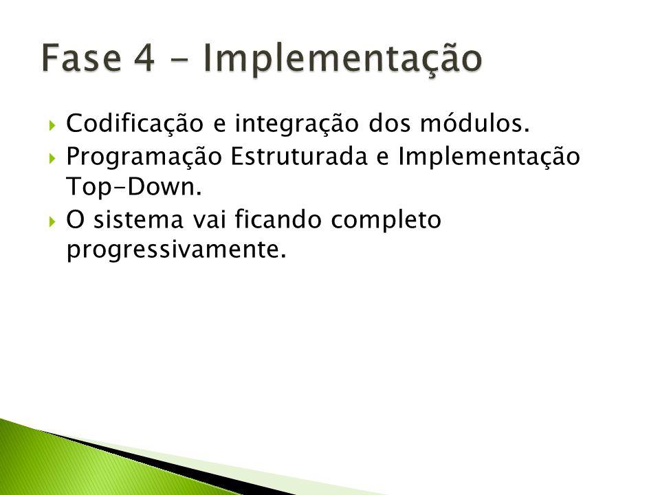 Fase 4 - Implementação Codificação e integração dos módulos.