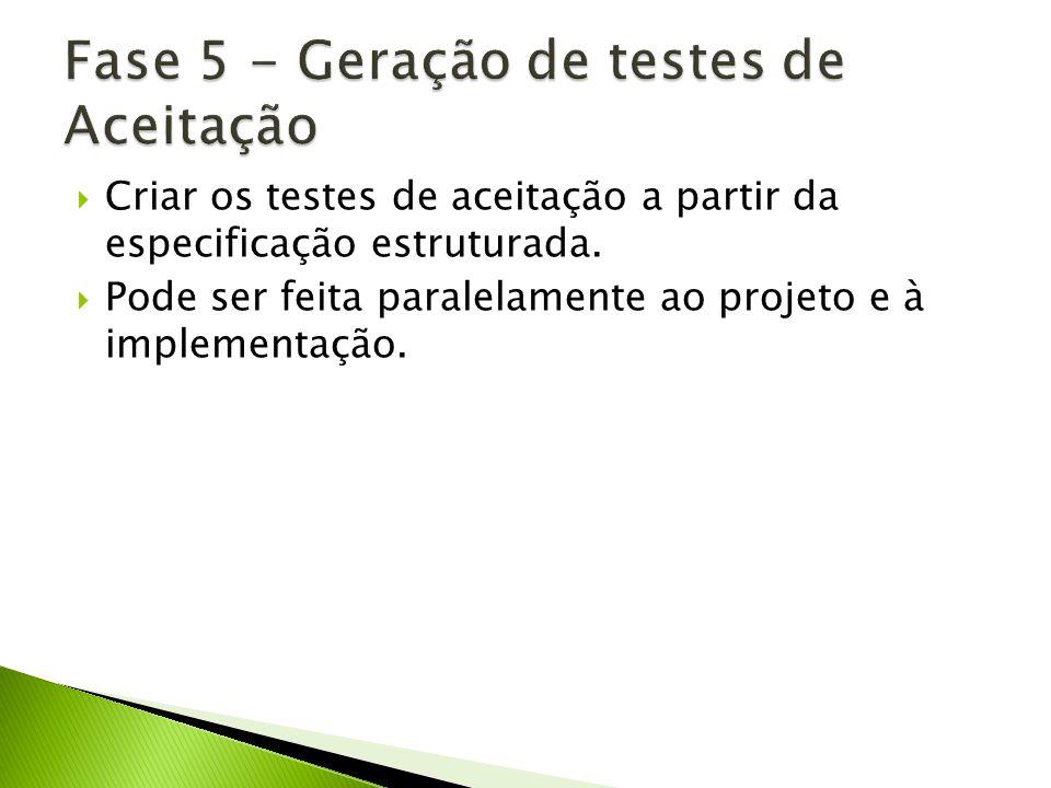 Fase 5 - Geração de testes de Aceitação