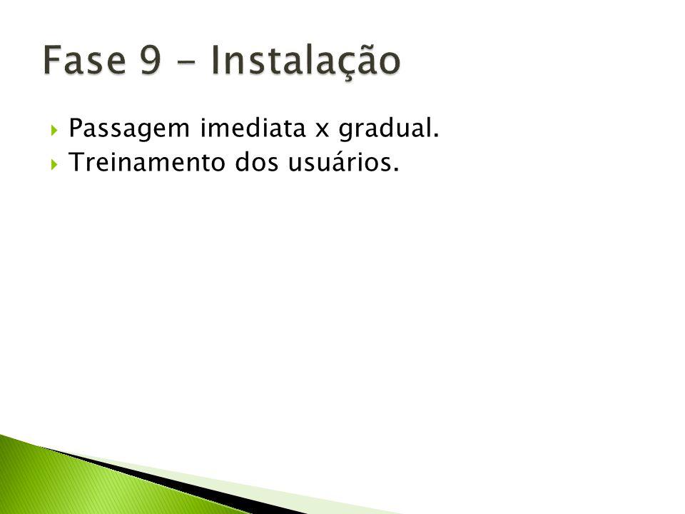 Fase 9 - Instalação Passagem imediata x gradual.