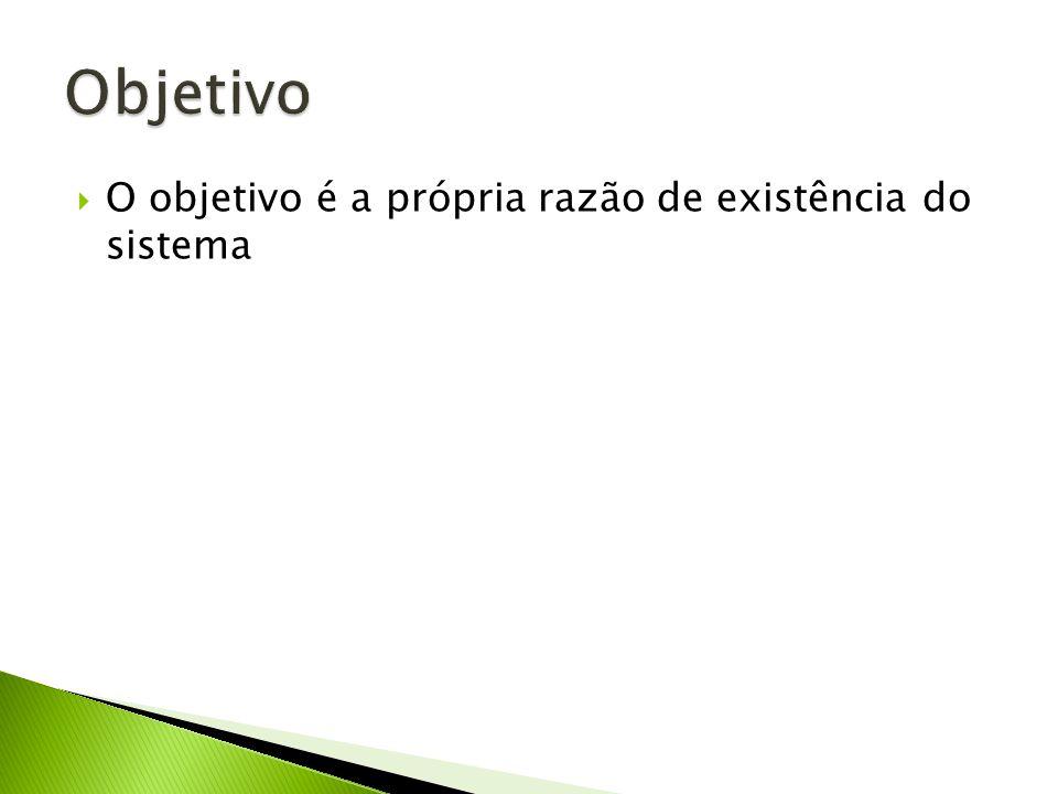 Objetivo O objetivo é a própria razão de existência do sistema
