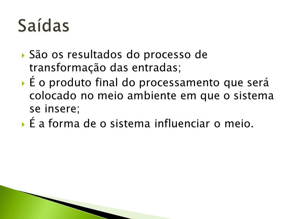 Saídas São os resultados do processo de transformação das entradas;
