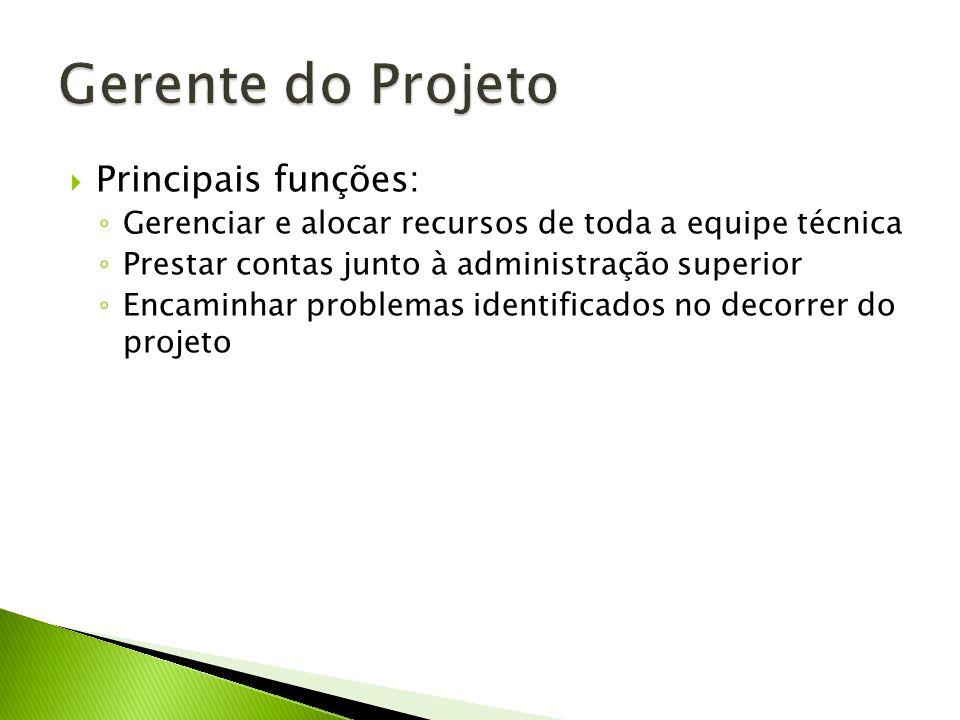 Gerente do Projeto Principais funções: