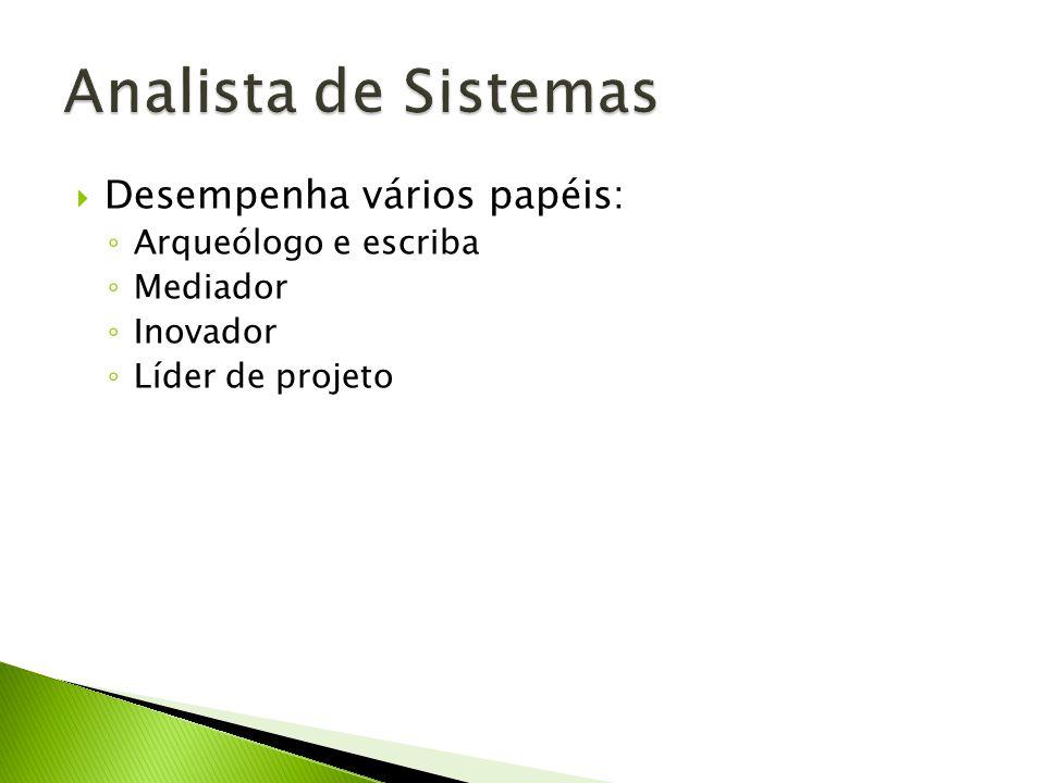 Analista de Sistemas Desempenha vários papéis: Arqueólogo e escriba