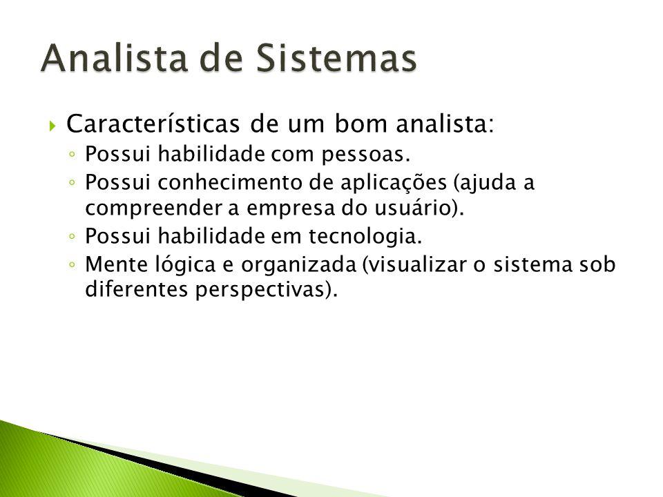 Analista de Sistemas Características de um bom analista:
