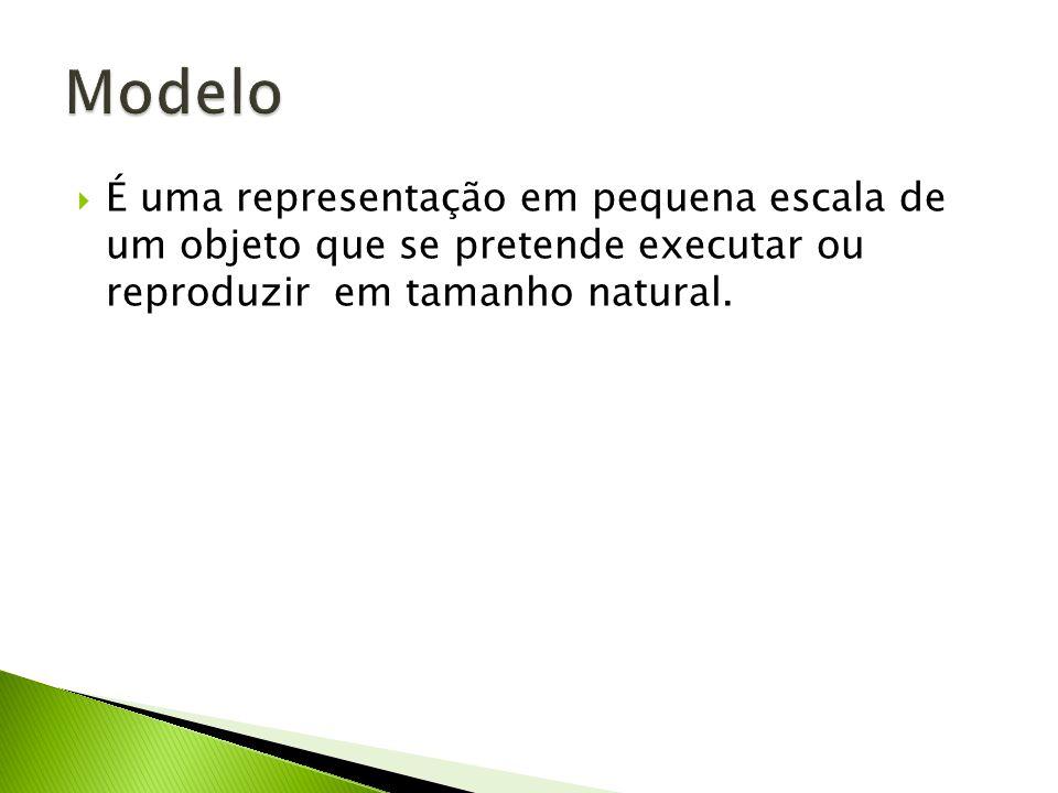 Modelo É uma representação em pequena escala de um objeto que se pretende executar ou reproduzir em tamanho natural.